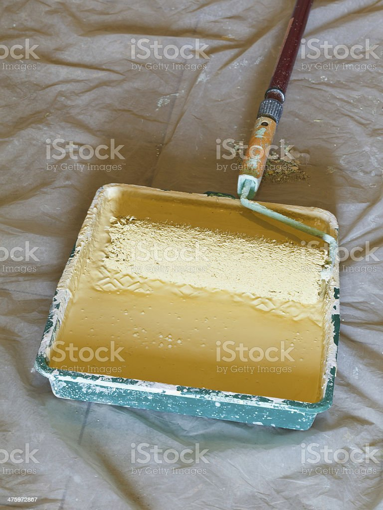roller brush with handle in plastic paint tray stock photo