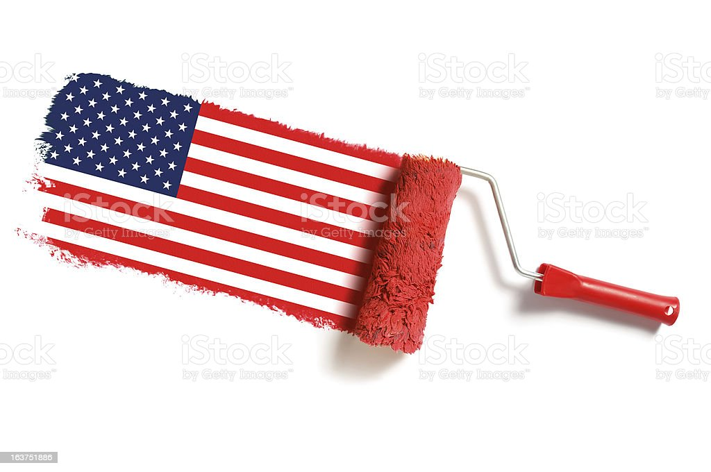 roller brush with usa flag stock photo