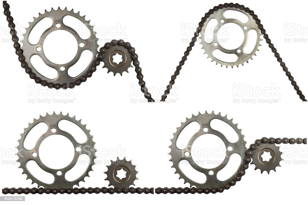 Roller chains with sprockets for motorcycles stock photo