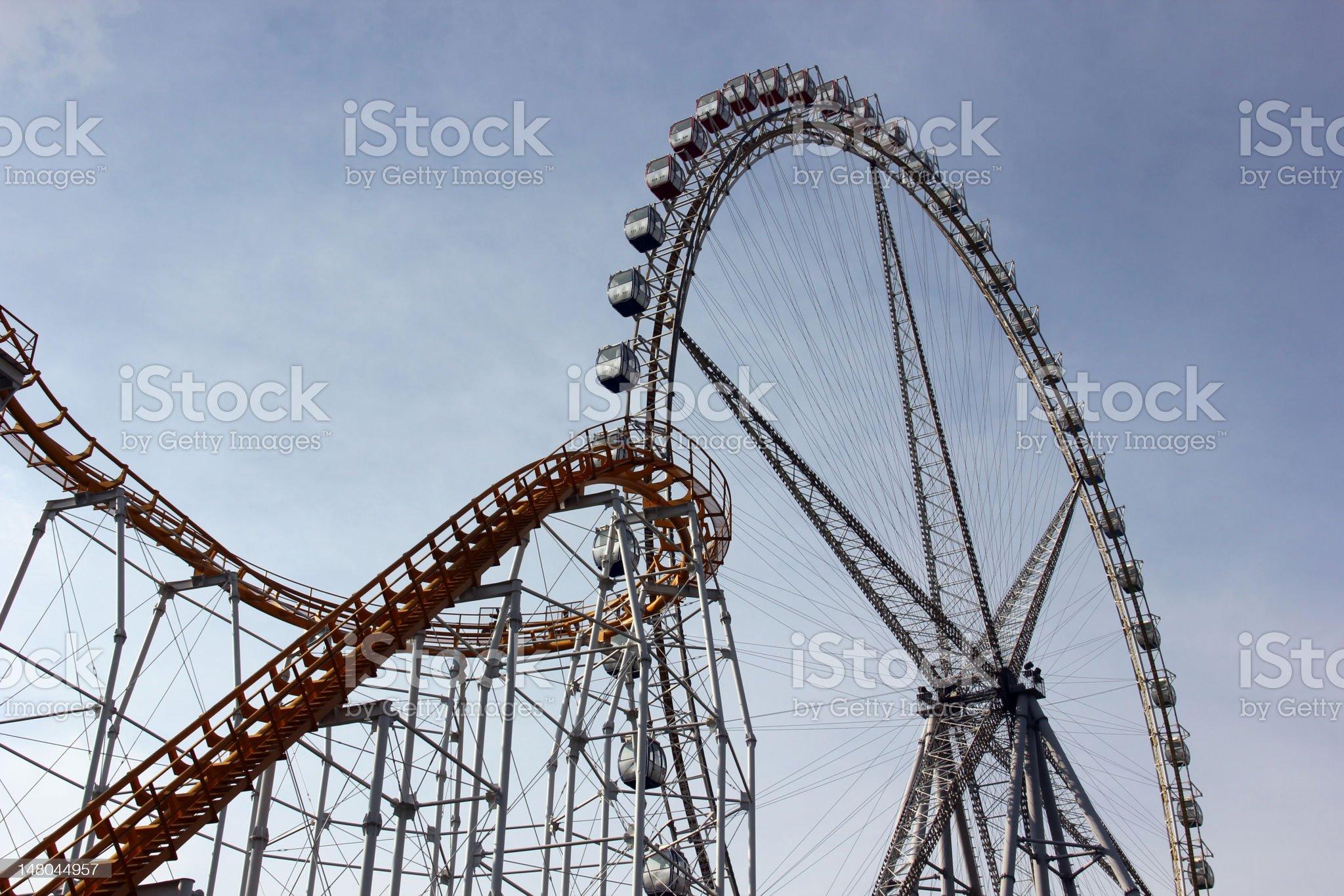 Roller Coaster and Ferris Wheel royalty-free stock photo