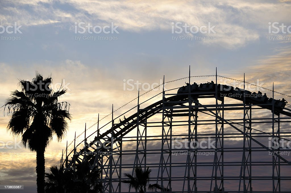 Roller Coaster at Dusk royalty-free stock photo