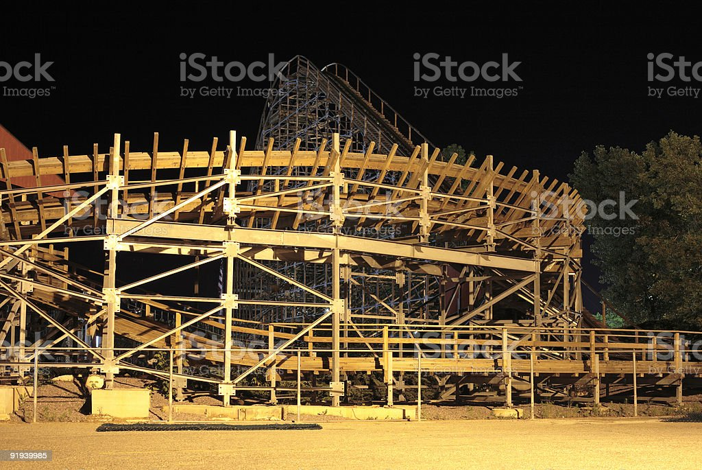 Roller coaster at night royalty-free stock photo