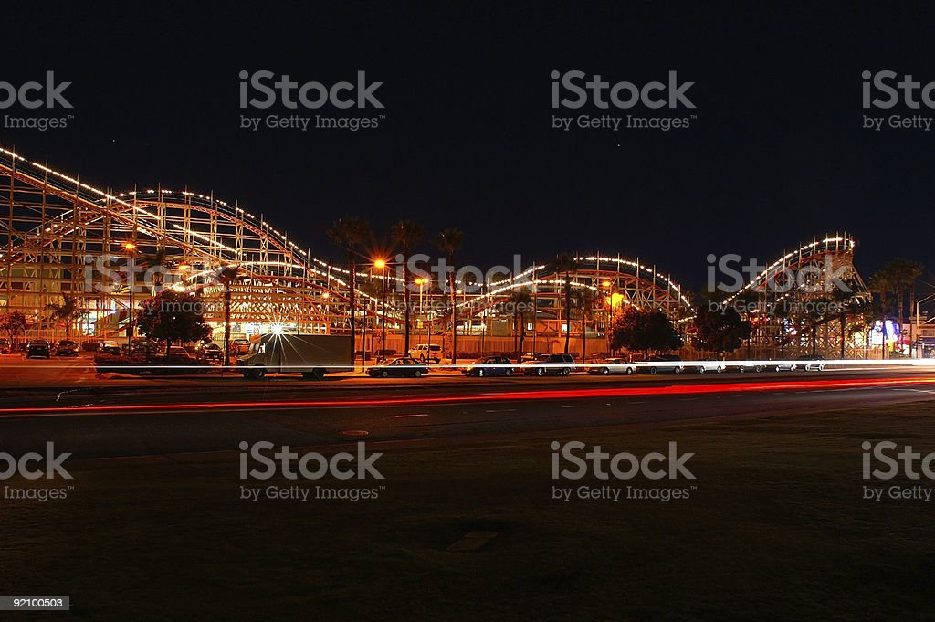 Roller Coaster at Night royalty-free stock photo