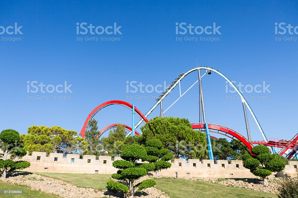 Roller Coaster in Amusement Entartainment Theme Park stock photo