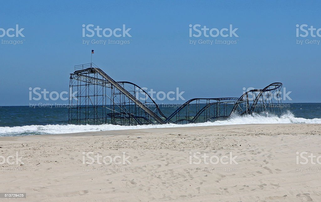 Roller Coaster in the Sea - Hurricane Sandy stock photo