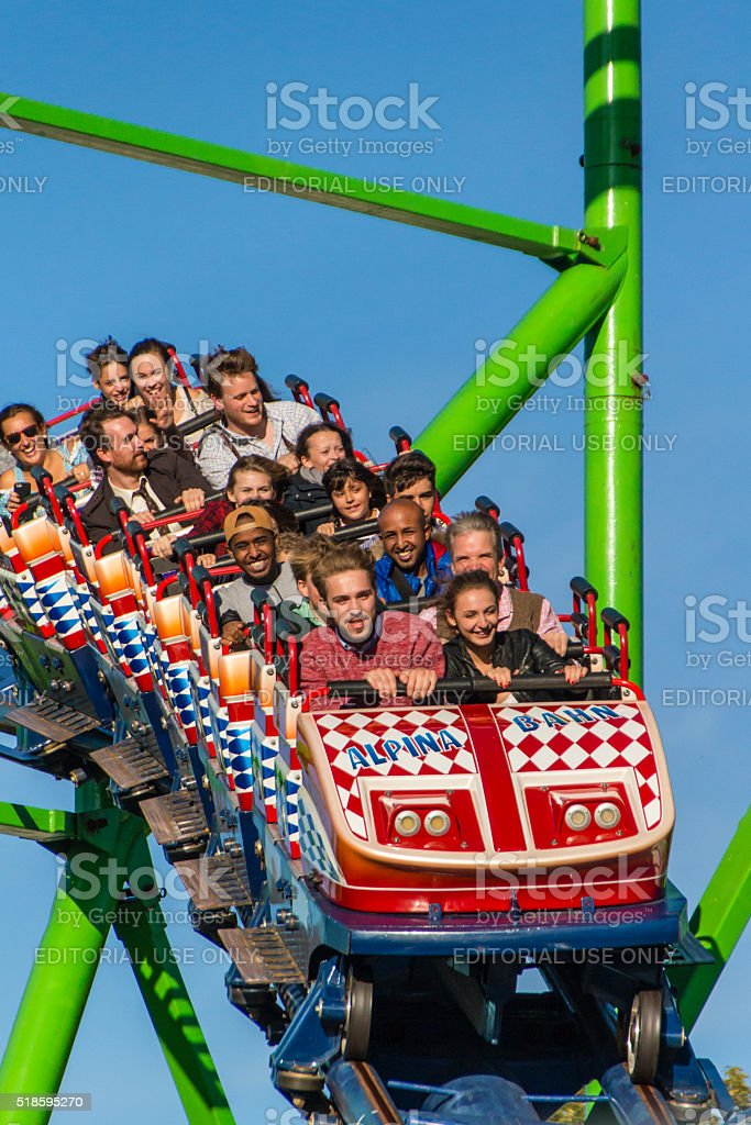 Roller coaster ride at Oktoberfest in Munich, Germany, 2015 stock photo