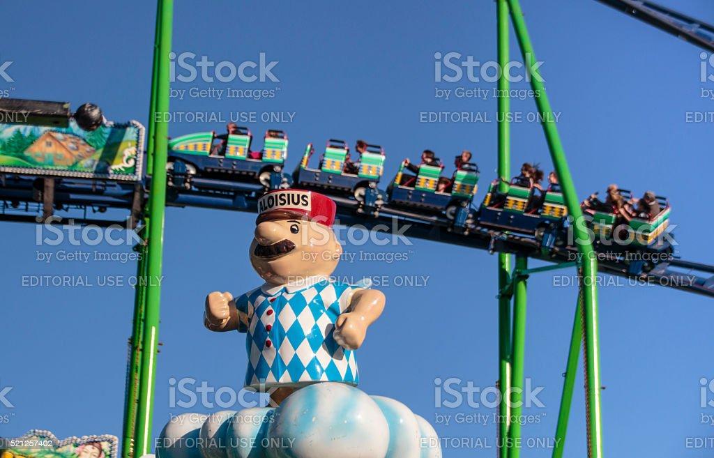Roller coaster ride at Oktoberfest in Munich, Germany, 2015 stock photo