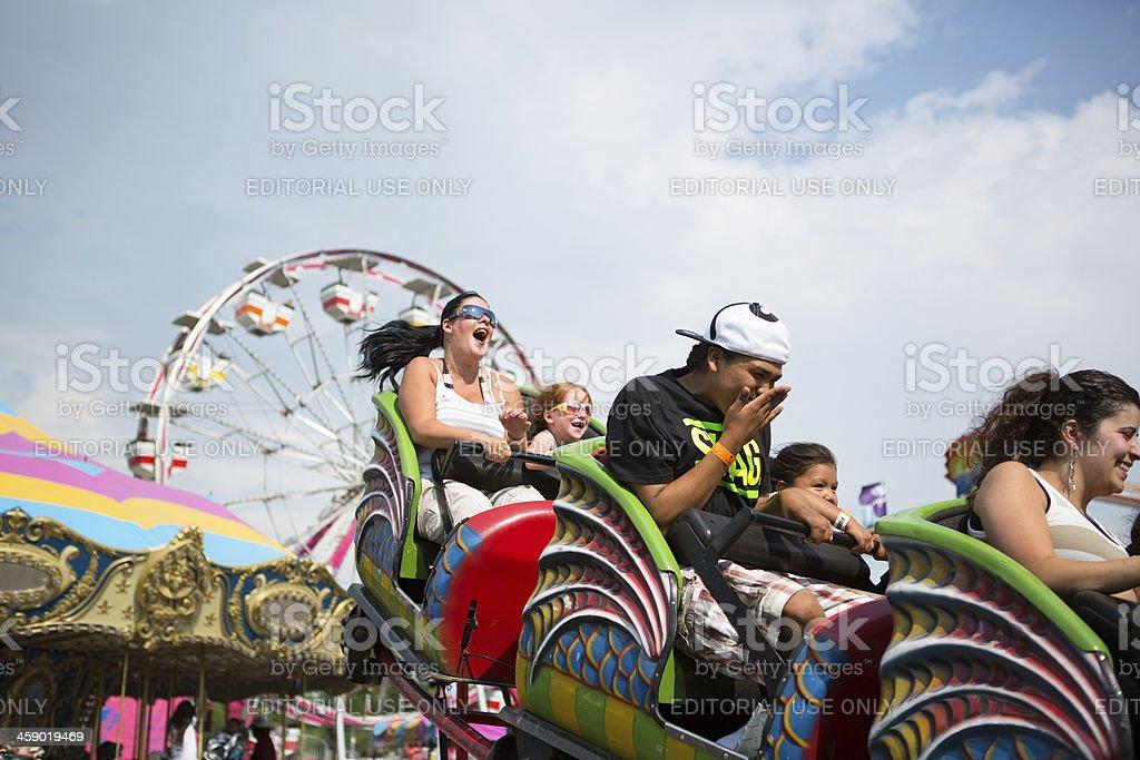 Roller coaster rides at amusement Park royalty-free stock photo