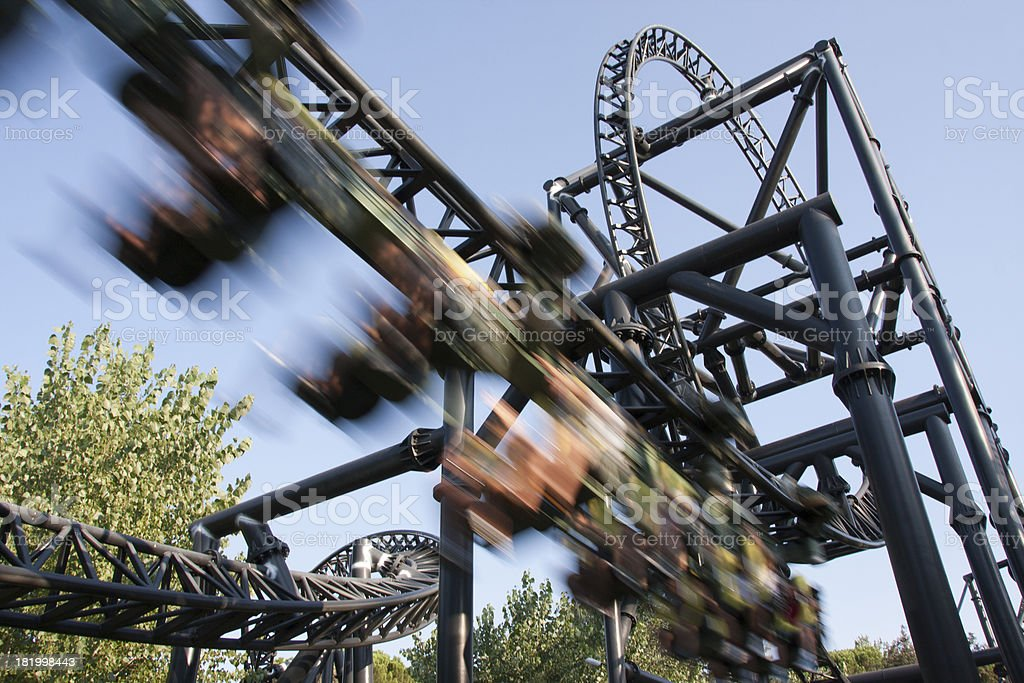 roller coaster speed stock photo