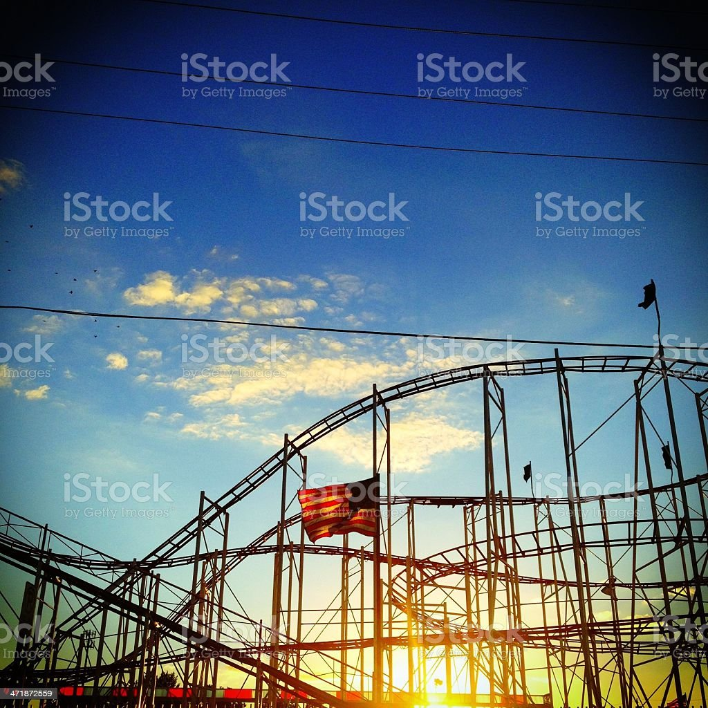 Roller coaster sunset royalty-free stock photo