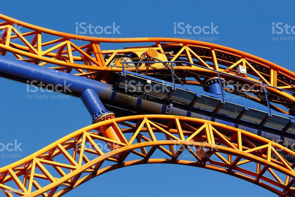 Roller coaster tracks closeup royalty-free stock photo