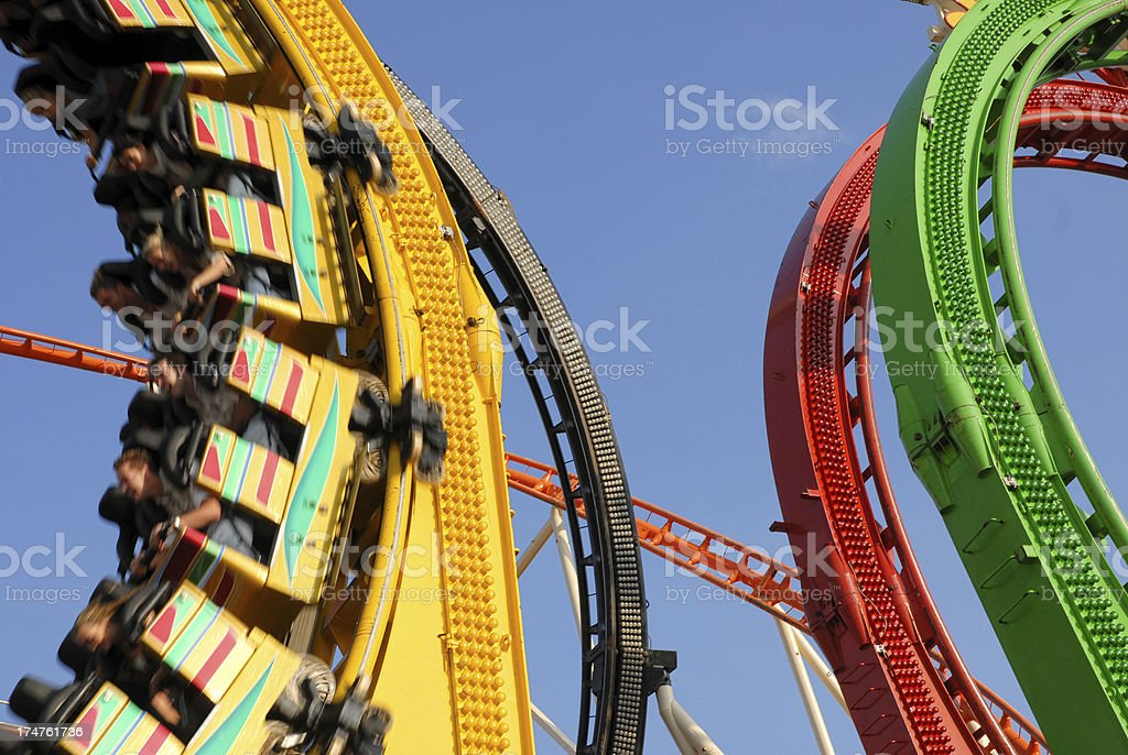 Roller coaster with loops royalty-free stock photo