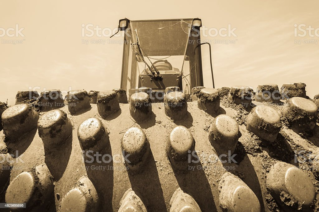 Roller Compactor Earth Machine stock photo