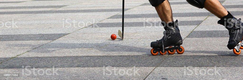 Roller in-line hockey outdoor stock photo