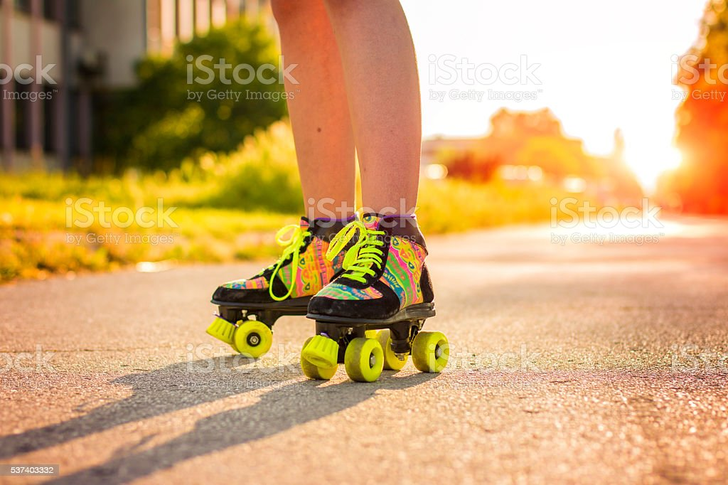 Roller skates closeup stock photo
