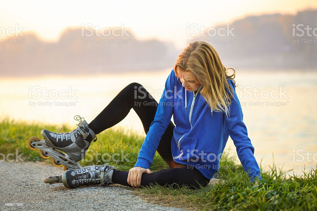 Roller skating injury stock photo