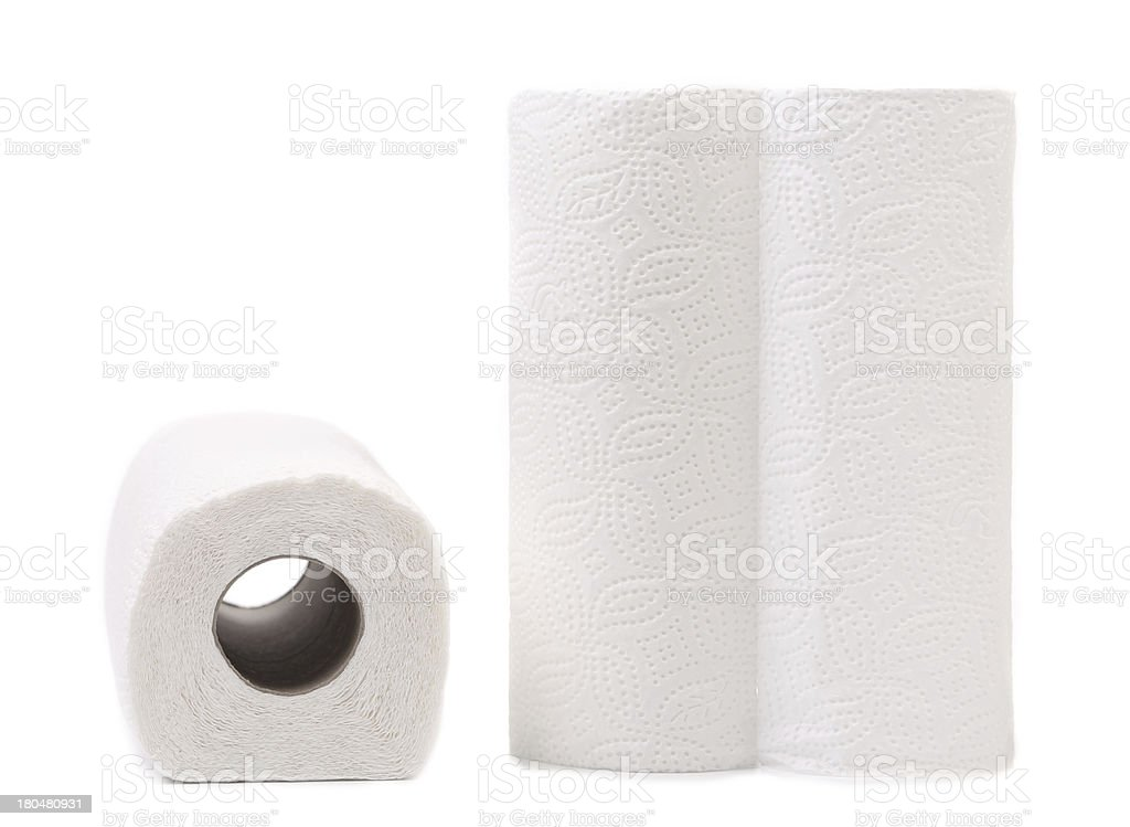 Roller towels on a white background stock photo