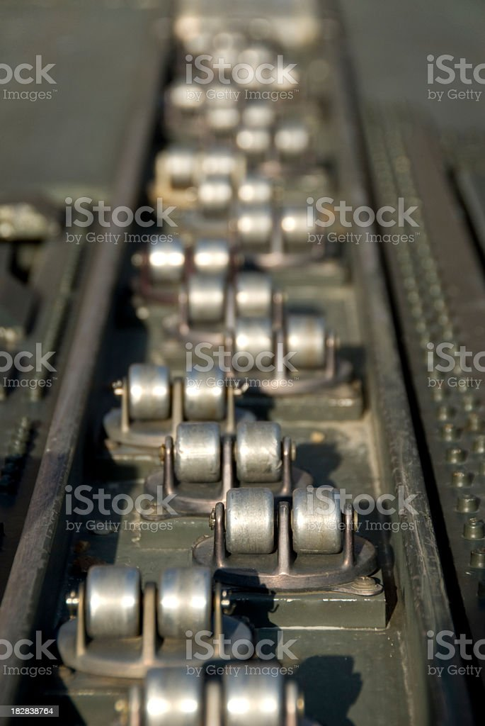 Roller Track on an Air Cargo Loader stock photo