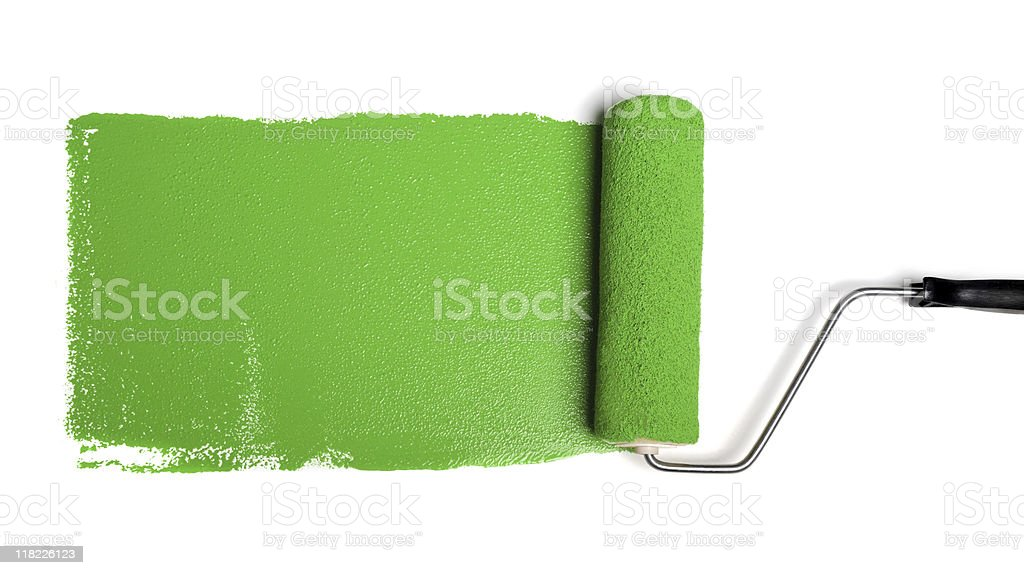 Roller With Green Paint stock photo