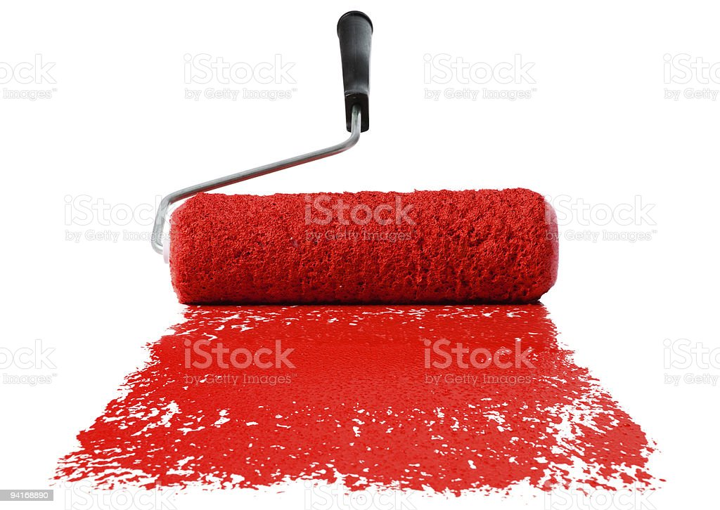 Roller With Red Paint royalty-free stock photo