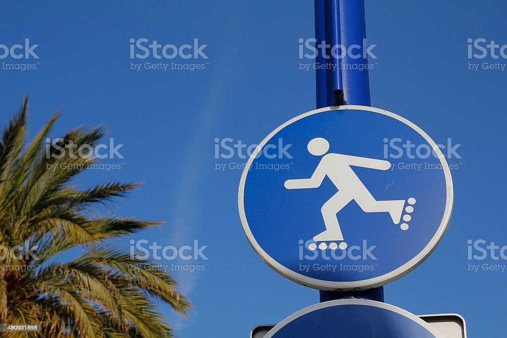 Rollerblade sign outdoors stock photo