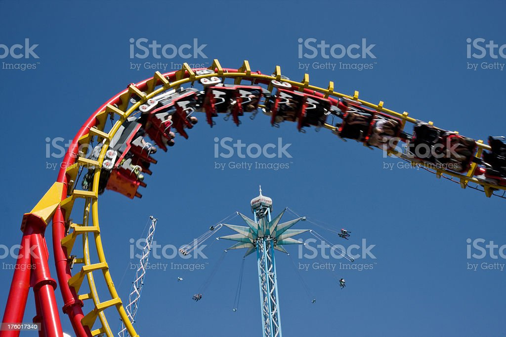 Rollercoaster and big carousel Prater Vienna stock photo