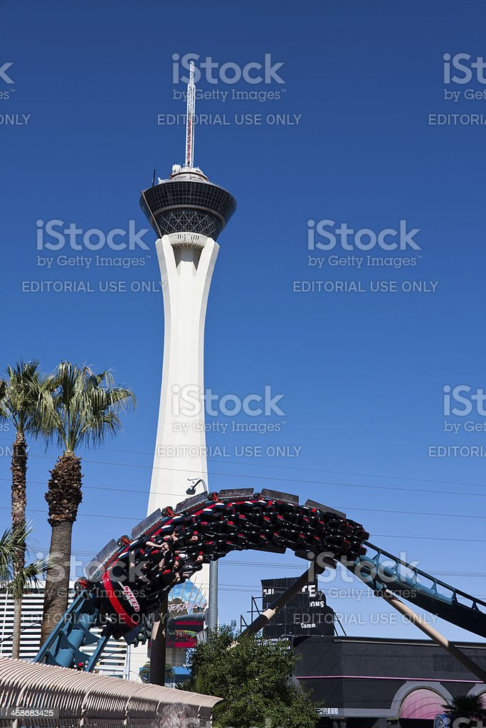 Rollercoaster and Stratosphere in Las Vegas royalty-free stock photo