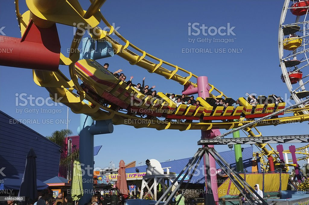 Rollercoaster at the Sante Monica Pier in California royalty-free stock photo