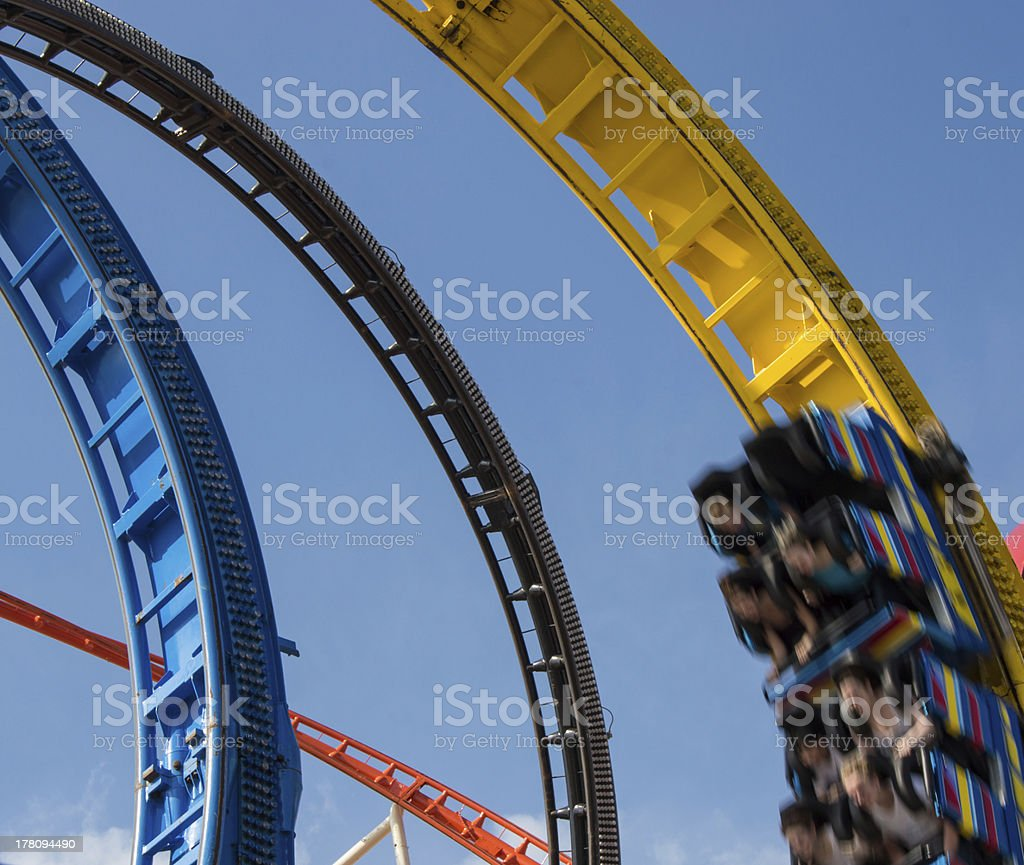 Rollercoaster in a looping royalty-free stock photo