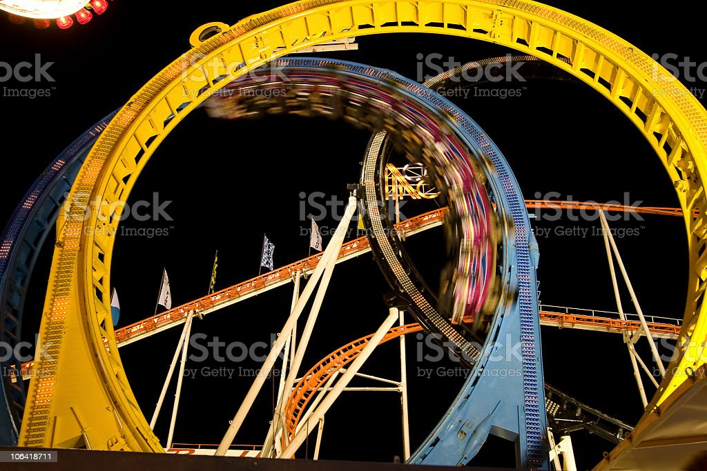 rollercoaster in looping stock photo