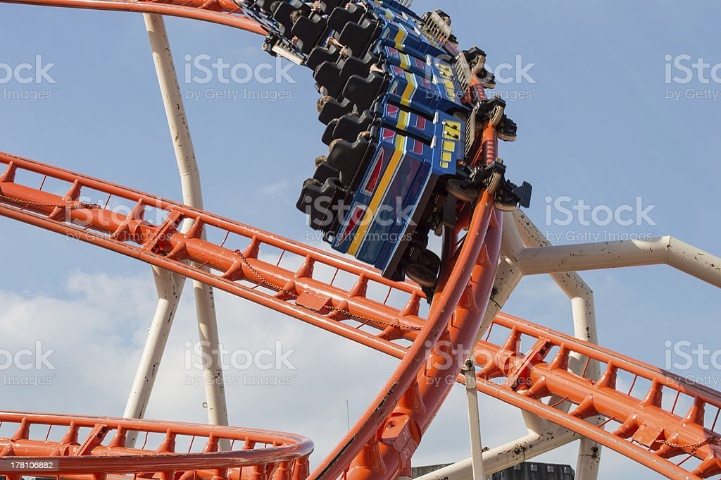 Rollercoaster in motion royalty-free stock photo