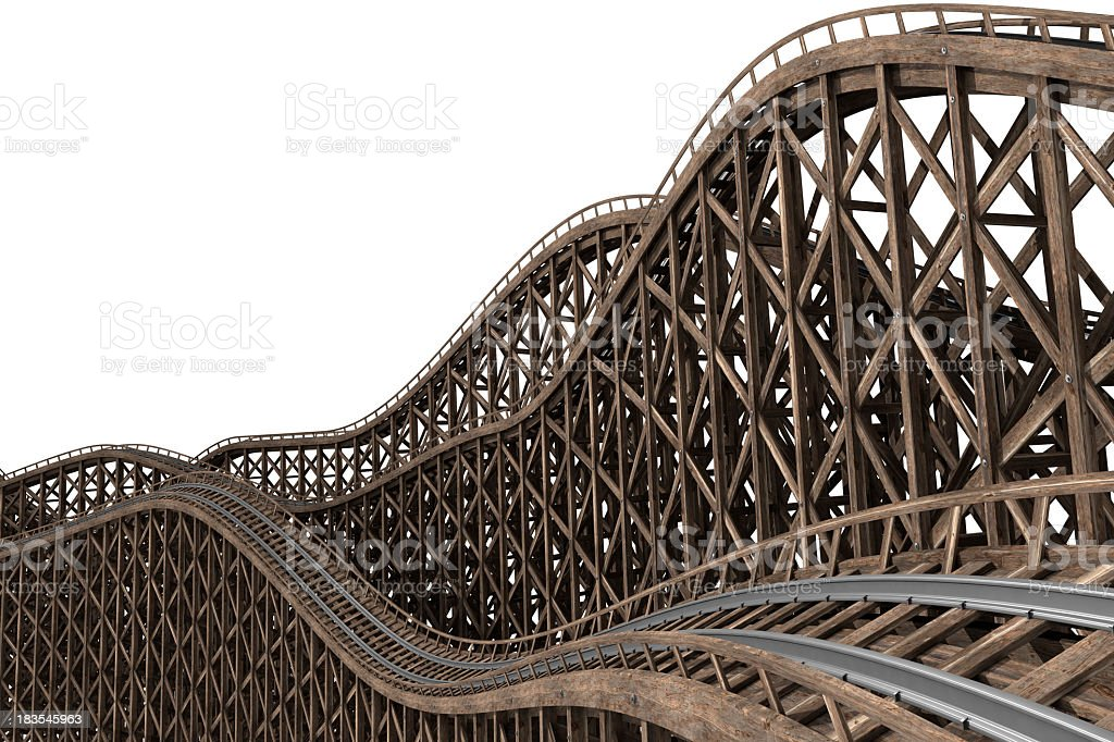 Rollercoaster track with wood and metal royalty-free stock photo