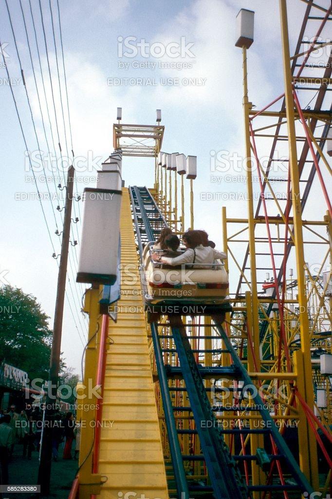 Rollercoaster, West-Berlin 1977 stock photo