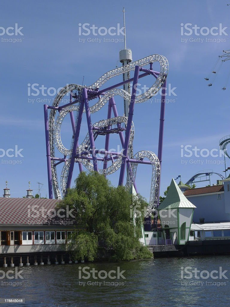 rollercoasters on the docks royalty-free stock photo