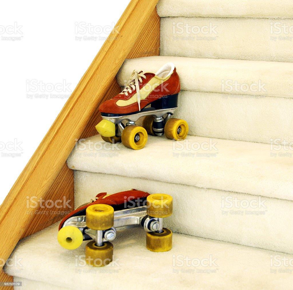 Rollerskates on staircase stock photo