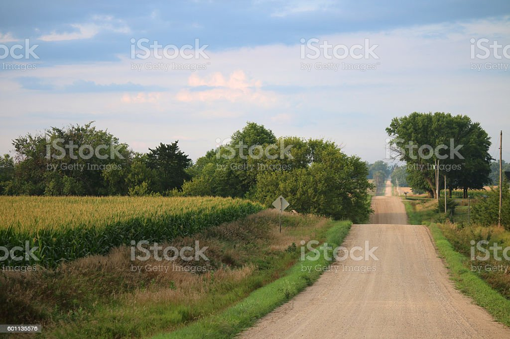 Rolling Gravel Road in NW Iowa - Summer stock photo