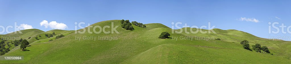 Rolling Green Hills of California Against Blue Sky, Landscape royalty-free stock photo