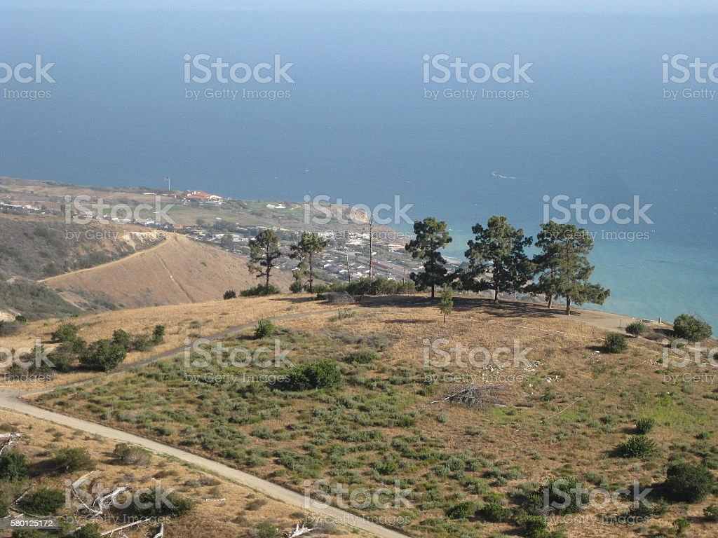 rolling hills and ocean views stock photo