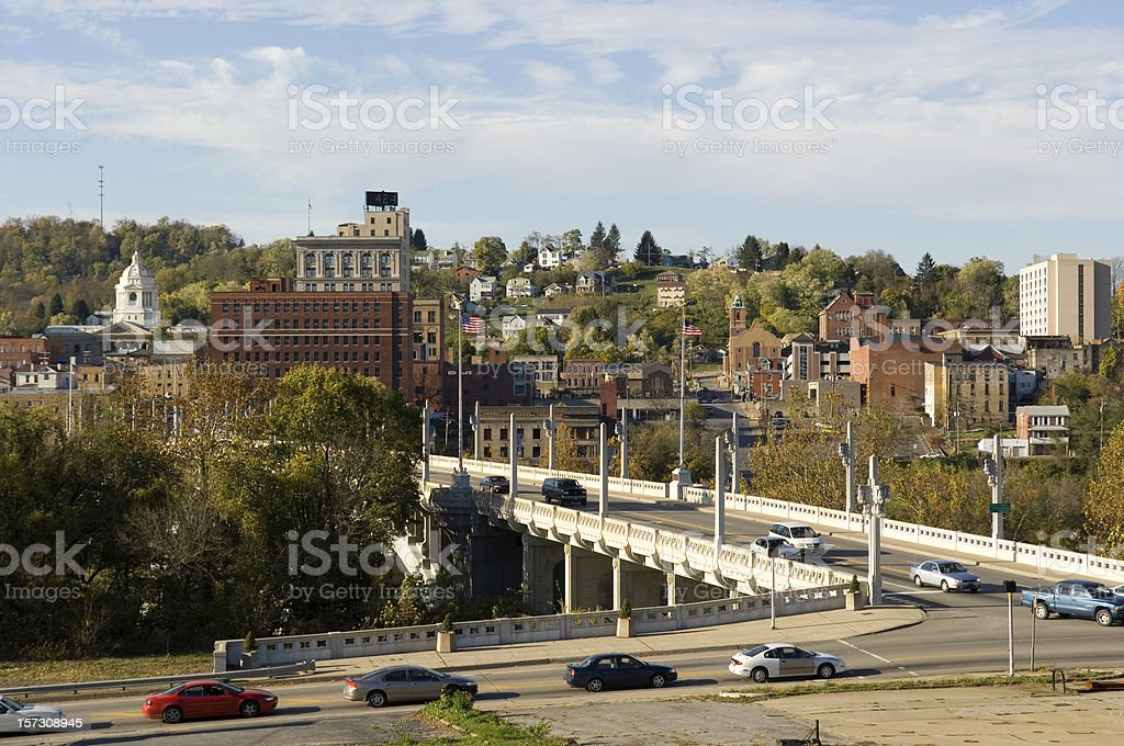 Rolling Hills Downtown in Fairmont, West Virginia stock photo