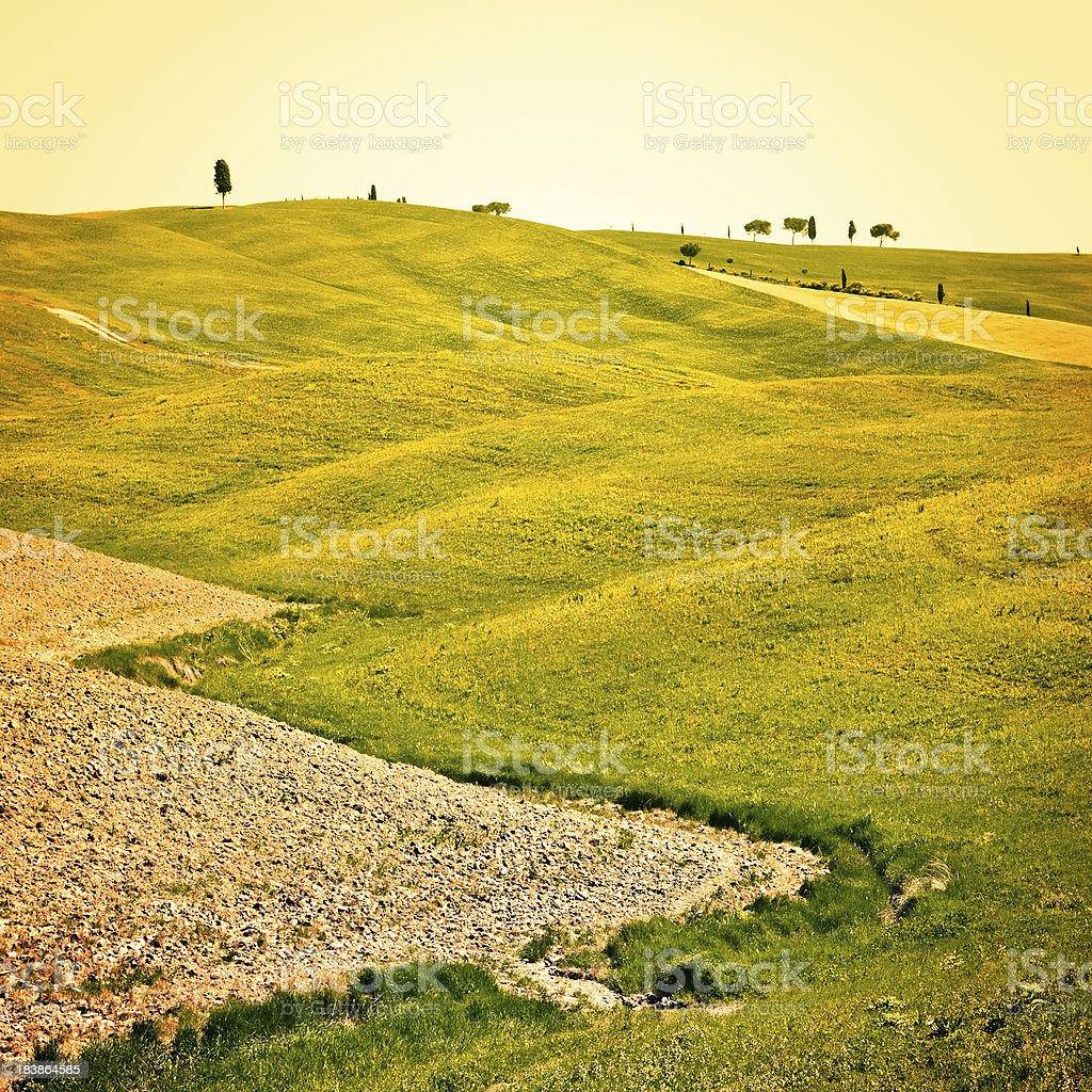 Rolling Hills in Tuscany, Val d'Orcia UNESCO World Heritage Site royalty-free stock photo