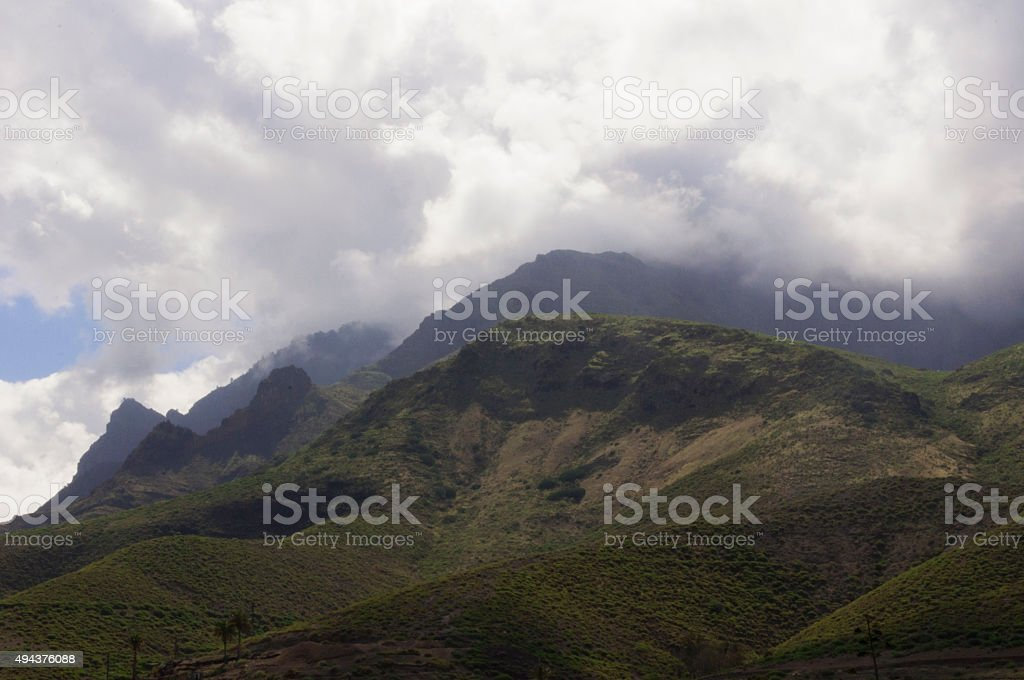 Rolling Hills of Agaete, Gran Canaria stock photo