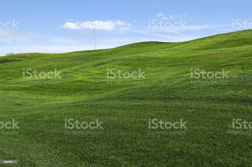 Rolling hills of green grass on lawn stock photo