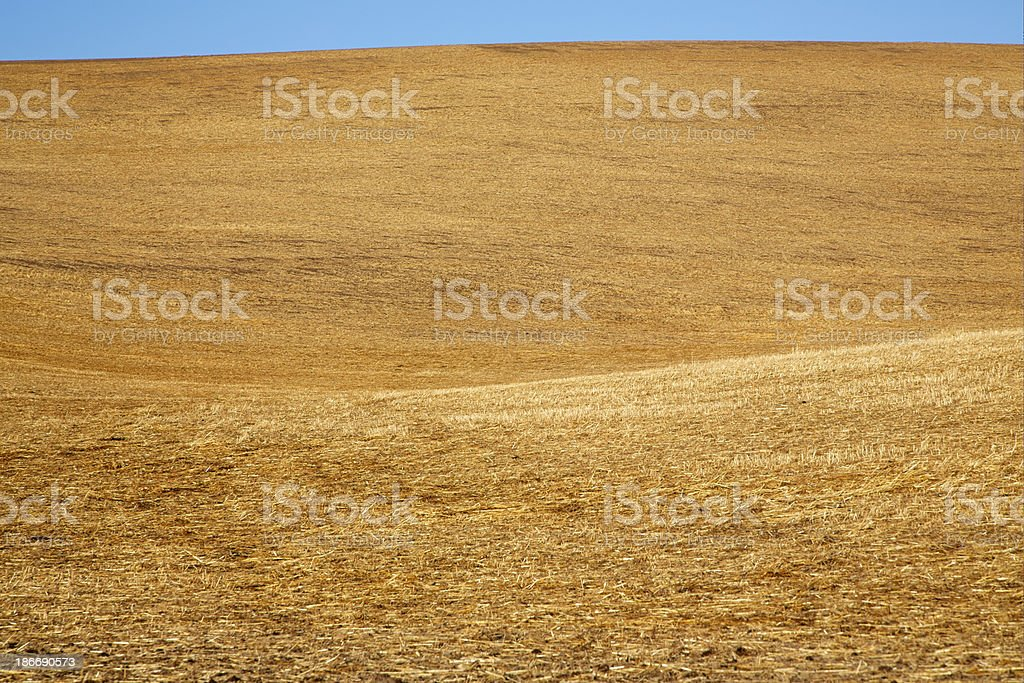 Rolling Hills of Harvested Hay Fields, Blue Sky, Abstract stock photo