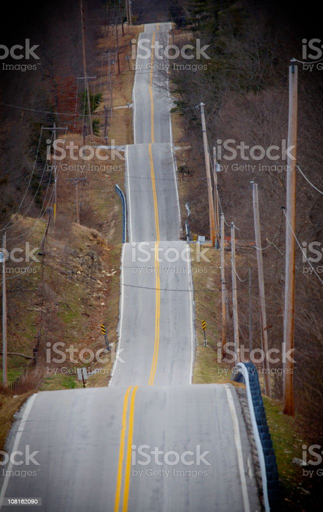 Rolling Hills with Country Highway stock photo