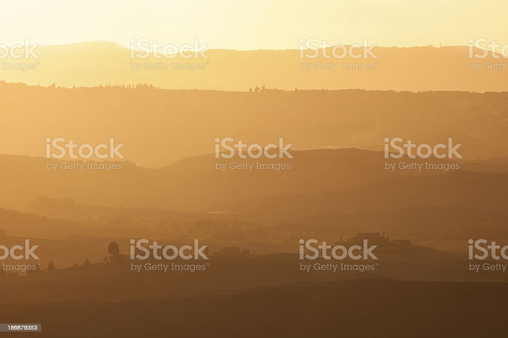 Rolling Landscape at Sunset, Tuscany, Italy royalty-free stock photo