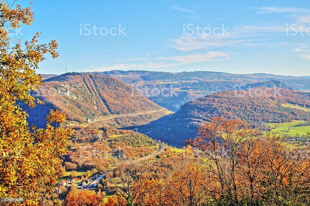 Rolling landscape in autumn in Rhone-Alpes France stock photo