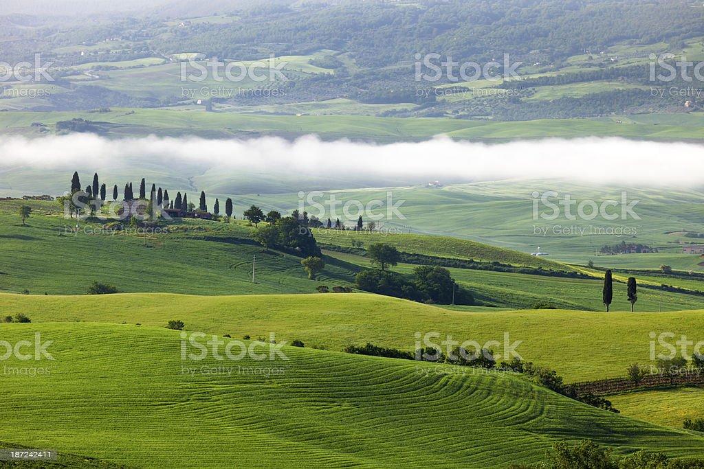 Rolling Landscape With Morning Fog, Tuscany, Italy royalty-free stock photo