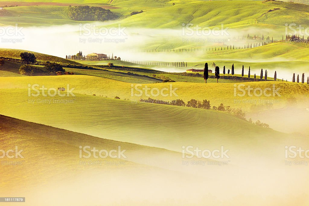 Rolling Landscape With Morning Fog, Val d'Orcia, Tuscany, Italy royalty-free stock photo