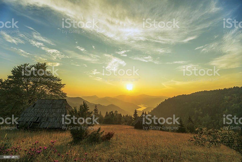 Rolling landscapes of Mokra Gora, Serbia stock photo