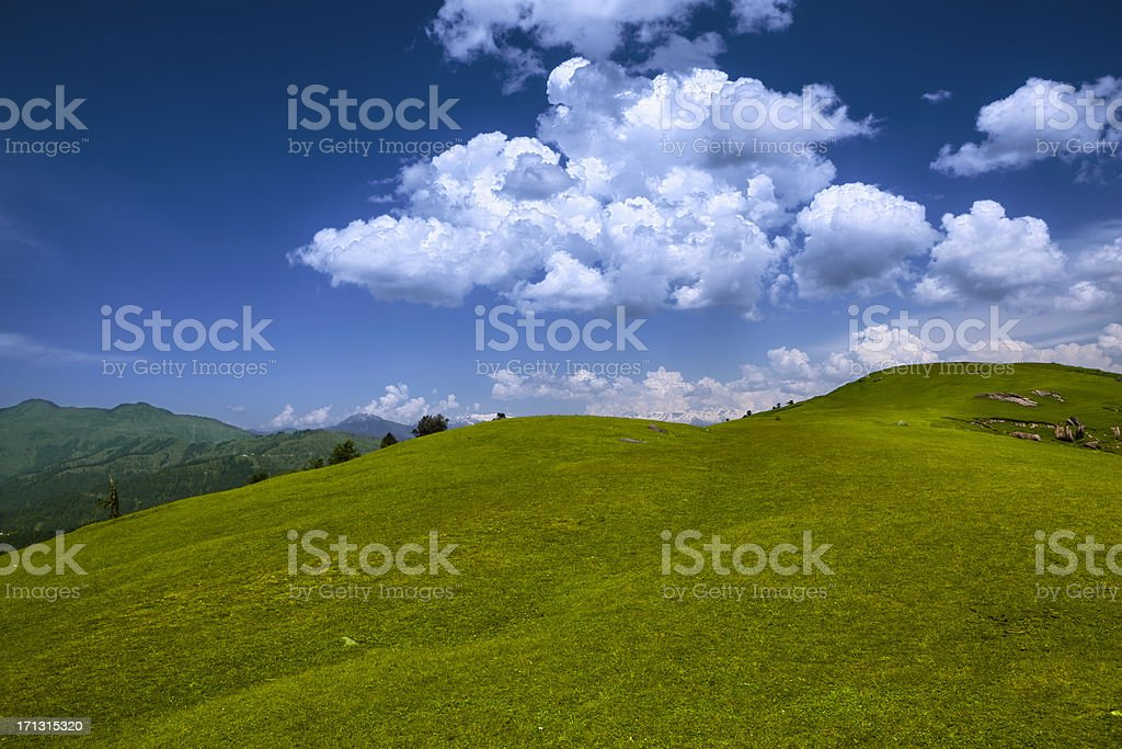 Rolling Meadow Landscape, Azad Kashmir HDR royalty-free stock photo